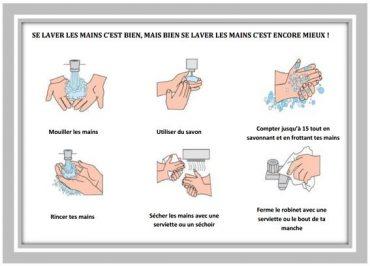 (OMS, adapté par Neyame pour la campagne lavage des mains avec du savon à l'Université Senghor d'Alexandrie)
